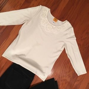 ❄️Ruby Rd. Embellished White Sweater